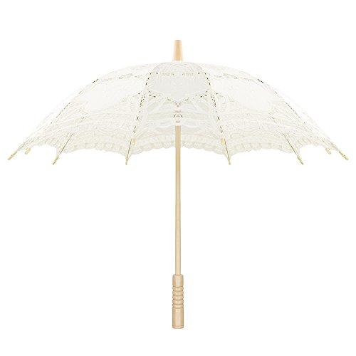 Sweetme Sonnenschirm Spitze Brautschirm Damen Regenschirm Hochzeit Gesticktes Cotton Vintage Sonnenschirm Hochzeit (Beige)
