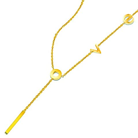 """LOVE"" Necklace 18K Gold Plated Stainless steel Pendant 2016 Y Shape Chains 46cm/18-inch"