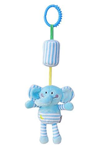 Luxury-uk Soft Book für Kleinkinder Cartoon Tier Hänge Rassel Kleinkind Spielzeug, weiche Flock Stoff, mit Klingel (Elefant)