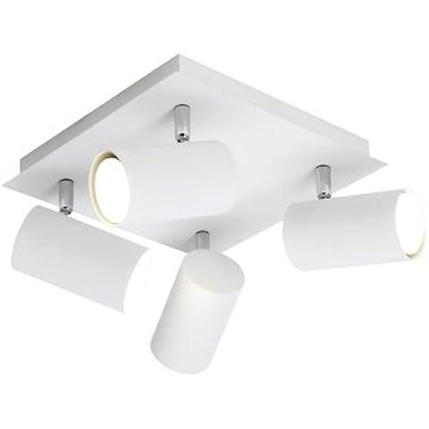 Trio 802430401 Serie 8024 - Focos con 4 luces, bombillas excluidas, GU10, 35 W, 230 V, A++, E, IP20, 15 x 24 x 24 cm, metal, blanco