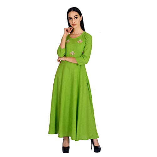 Green Solid Cotton Kurti (Size:- ()