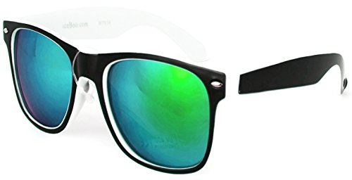 New Sunglasses Two tone reflective lenses Vintage Retro Classic Mens Womens UV400 (White Black Green outer lens 5847)