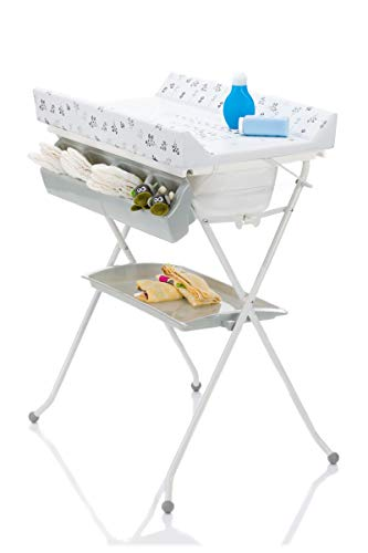 Fillikid Wickelkombi Exclusiv 2in1 mit Badewannenaufsatz | Mobiler Bade-Wickeltisch faltbar | Wickelkommode Wickelauflage pflegeleicht | Wickeltisch mit Badewanne | kompakt faltbar