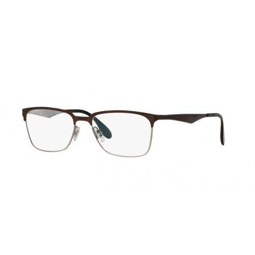 Ray-Ban Herren RX6344 Brillengestell, TOP BRUSHED DARK BROWN ON GUNM, 54