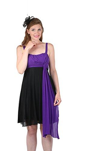 ROBLORA-Robe de Cérémonie-deux épaules- USBS01 Violet-Noir