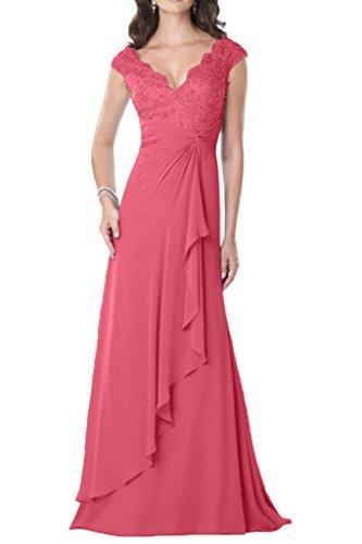 Milano Bride Damen V-Ausschnitt Chiffon Spitze Aplikation Abendkleider  Mutterkleider Promkleider A-Linie Lang