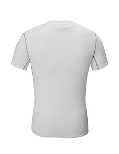 Jimmy Design - Maglietta aderente a compressione, per uomo, con stampa Bianco - bianco