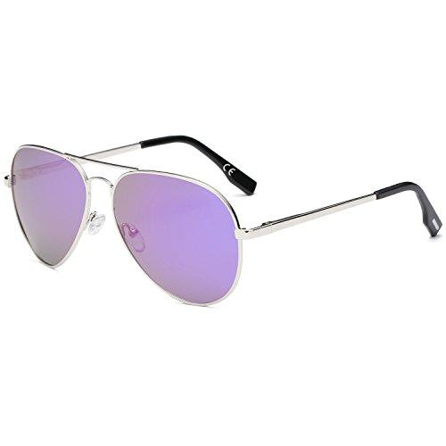 AMZTM Clásico Moda Polarizadas Aviador Gafas De Sol De Mujer Y Hombre Puente Doble Plateado Metal Montura Reflejado REVO Morado Lentes