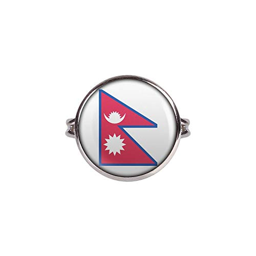 Mylery Ring mit Motiv Nepal Kathmandu Flagge silber 16mm