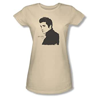 Elvis Presley - Womens Black Paint T-Shirt In Cream, Xx-Large, Cream