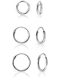 DTP Silver - Conjunto de 3 pares de Pendientes de Aro pequeños - Plata 925, Plateada en Oro Amarillo o Rosa - Espesor 1.2 mm, Diámetro 8, 10, 12 mm