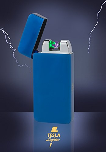 Tesla-Lighter T10 | Lichtbogen Feuerzeug mit Photosensor, Plasma Double-Arc, elektronisch wiederaufladbar, aufladbar mit Strom per USB, ohne Gas und Benzin, mit Ladekabel, in edler Geschenkverpackung, Blau