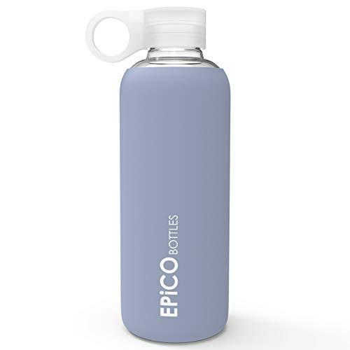 EPiCO BOTTLES Glasflasche/Trinkflasche Vivifit 550ml Trinkflasche Glas zum Mitnehmen Wasserflasche mit Silikonhülle zum mitnehmen - Fitness Water Bottle für unterwegs, Sport, Schule - BPA Frei