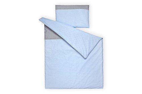 e-Set weiße Punkte auf Hellblau Streifen dunkelblau aus Kopfkissen 40 x 60 cm und Bettdecke 135 x 100 cm, Bettbezug aus Baumwolle, handgearbeitete Bettwäsche gefertigt in der EU ()