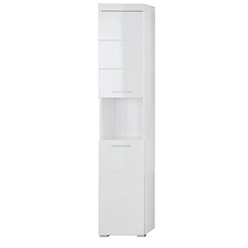 #trendteam smart living Badezimmer Hochschrank Schrank Amanda, 37 x 190 x 31 cm in Weiß Hochglanz mit offenen Fach#
