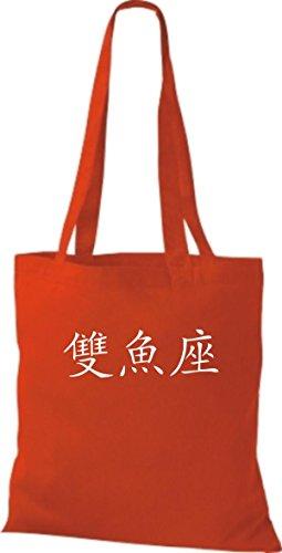 ShirtInStyle Stoffbeutel Chinesische Schriftzeichen Fische Baumwolltasche Beutel, diverse Farbe bright red