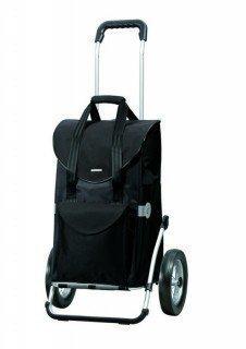 Andersen Einkaufstrolley Royal mit Metallspeichenrad und Einkaufstasche Senta schwarz 49 Liter