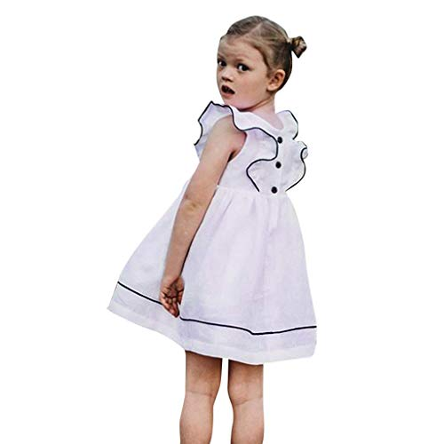 (Mädchen Kleider,BaZhaHei Mode Kleinkind Baby mädchen fliegen hülse Kleider Feste Kleid Kleidung Mode Kleid Spitze Floral Party Kleid Kurzarm Festes Kleid Kleidung)