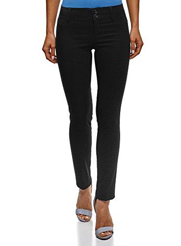 oodji Ultra Mujer Pantalones Stretch Estrechos, Negro, ES 36 / XS