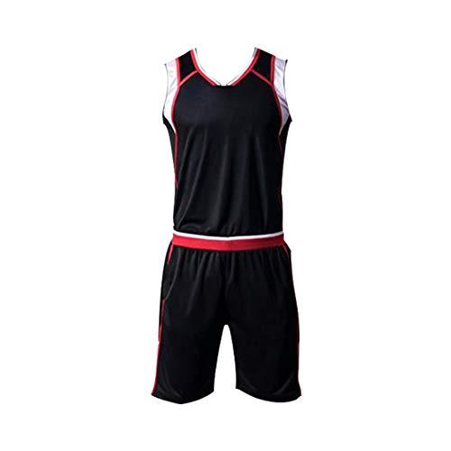 GWELL Basketballtrikot Set für Herren Jungen Trikot & Shorts Basketballanzug Basketball Jersey Uniform Schwarz XL