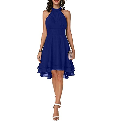 Tomasa Kleid- Damen gefaltetes Kleid beiläufiges Halter Sleeveless Mehrschichtiges A Line Mini-Chiffon-Kleid asymmetrische Party Abendkleider -
