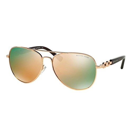 Michael Kors Damen Fiji MK1003 Sonnenbrille, Gold roségold verspiegelt 1003R5, Large (Herstellergröße: 58)