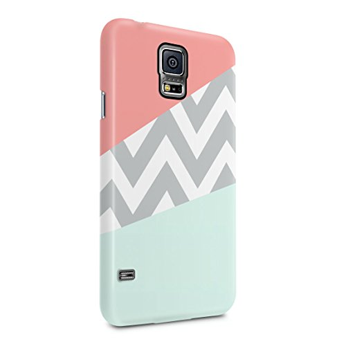 Mint and Coral Pink Chevron Blocks Dünne Rückschale aus Hartplastik für Samsung Galaxy S5 Mini Handy Hülle Schutzhülle Slim Fit Case Cover Hearts Hard Case, Snap