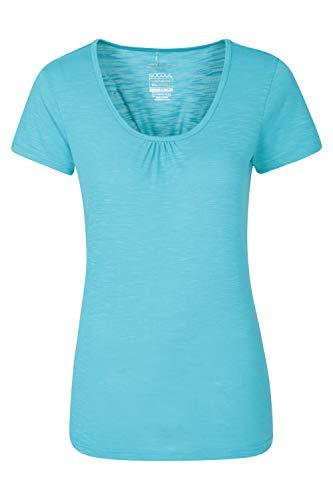Mountain Warehouse Agra Damen-T-Shirt - leichtes, schnell trocknendes, atmungsaktives Sommer-Oberteil mit hoher Feuchtigkeitsregulierung - für Sport, Wandern, Freizeit Blau DE 36 (EU 38)