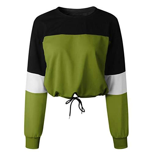 MNLXL Mode Patchwork Farbe Sweatshirt Langärmeligen Pullover Frauen Sweatshirt Casual Hoodie Shirt Frauen Shirt (Grün),Green,L (Wool Crewneck Green Pullover)