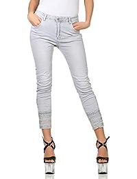 Mozzaar Jeans Damen Hose Stickerei Pailletten Hüfthose Röhrenjeans Skinny 64