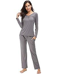 b85e4b4bf9d7 Arblove Womens Pyjama Sets Cotton Long Sleeve Loungewear Top   Bottom Ladies  Pjs Nightwear