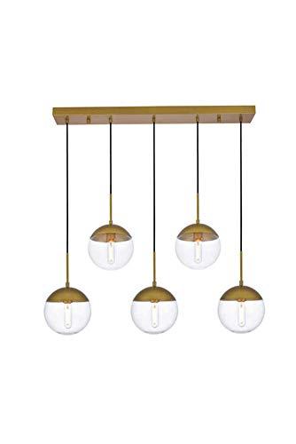 5 Licht Kronleuchter (Dst Transparente Glaskugel Pendelleuchte, 5 Licht Moderne Goldfarbe Finish Kronleuchter Hängende Deckenleuchte für Kücheninsel, Bar Oder Esszimmer (Gold, 5 light))
