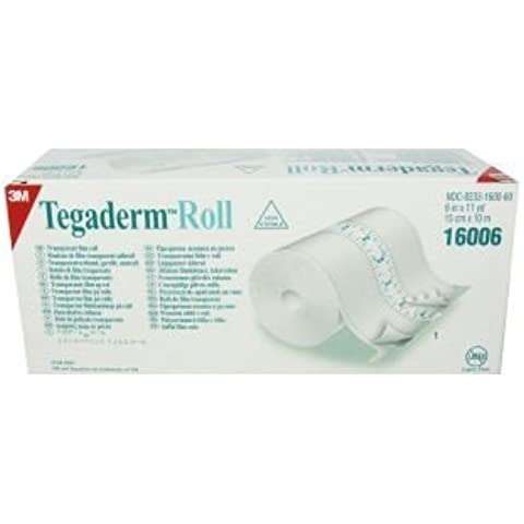 3M Transparent 6 Film Roll (1 Roll) - Tegaderm Breathable Waterproof Adhesive Barrier - Cut to Size - 11 yd per Roll by