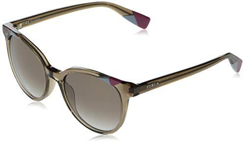 Furla occhiali da sole donna tortora trasparente lucido lenti brown gradient blu sfu229 0alv 53-20-135