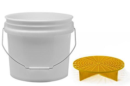 detailmate Set aus US Made Wash Bucket Wasch Eimer 3,5 Gallonen (12,5 Liter) transparent Grit Guard Eimer Einsatz gelb