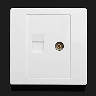 GIlH RJ45 Network + TV Aerial Coaxial Wall Mount Outlet Faceplate Panel Socket