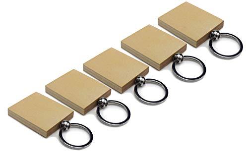 Schlüsselanhänger aus Holz | Birke oder Akazie, Blanco | Schlüsselring Geschenk Anhänger Basteln Laser Graviermaschine | Gute Qualität aus Deutschland (5 Stück, Birke) -