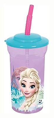p:os handels gmbh 25749088 - Vaso con diseño de Frozen de Disney, con Pajita, Aprox. 460 ml, sin BPA ni ftalatos, Multicolor por P:OS Handels GmbH