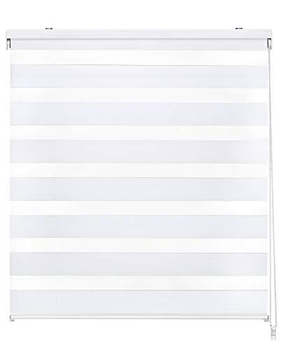 Easydeco - Estor Enrollable Día y Noche - Blanco (120_x_175_cm)