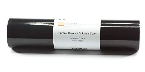 Selbstklebende Plotterfolie Vinylfolie 21 cm x 3 m glänzend 39 Farben zur Auswahl, Farbe:Schwarz