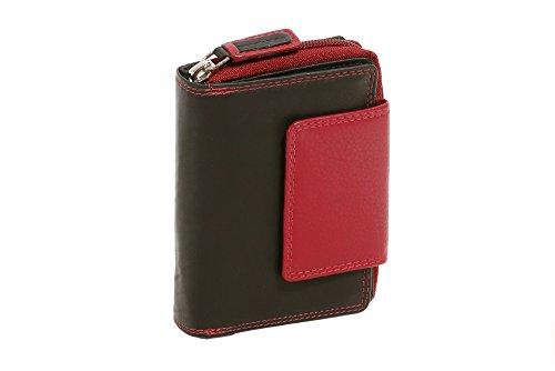 Portefeuille avec compartiment à fermeture éclair LEAS, cuir véritable, noir-rouge - ''LEAS Zipper-Collection''