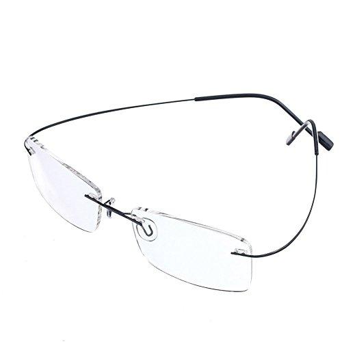 Lesebrille Herren Damen Fashion Randlos Lesebrille Brille Super Light 100% Titan Rahmen erhältlich in 5Farben + Eyewear Fall