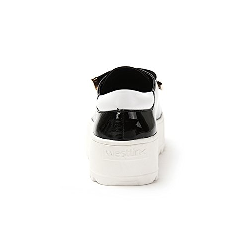 Primavera ed estate moda casual scarpe in vernice/Impunture Velcro alle scarpe con la suola spessa piattaforma/Scarpe sportive Nero