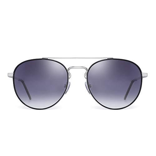 JIM HALO Klein Runden Polarisiert Sonnenbrille Doppelt Brücke Rahmen Gradient Linse(Silber Rahmen/Gradient Graue Linse)