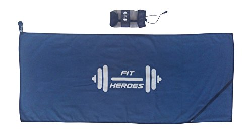 FIT HEROES Fitness-Handtuch mit Tasche, Reißverschluss + Befestigung | Fixierung am Gerät | Schnelltrocknend | enorm saugfähig | super leicht | sicher | 120 cm x 50 cm | Sport-Handtuch | Mikrofaser-Handtuch | Reise-Handtuch |