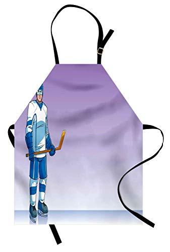 Soefipok Eishockey-Schürze, Sport-Cartoon-Hockey-Spieler-Charakter mit Stock und Kleidung, Unisex-Küchenschürze mit verstellbarem Hals zum Kochen Backen Gartenarbeit, Lavendel Azure Blue und ()