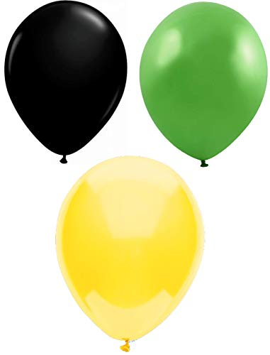 INERRA Globos - Pack of 75 Mezclado (25 X Negro & 25 X Verde Lima & 25 X Amarillo) Látex 10' For Helio o Aire