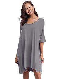 27b1ad3be Aibrou Camisón Mujer Verano Pijama de Algodón Manga Corta Camisón Vestido  Cuello en V Camisones Talla
