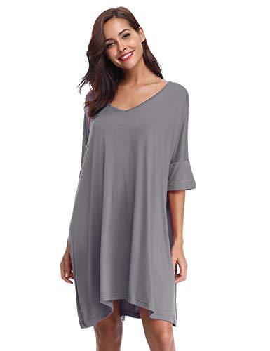 Aibrou Damen Nachthemd Nachtkleid Kurz Sommer Nachtwäsche Negligee Umstandskleid Stillnachthemd Sleepshirt aus Modal (Hellgrau, Medium)