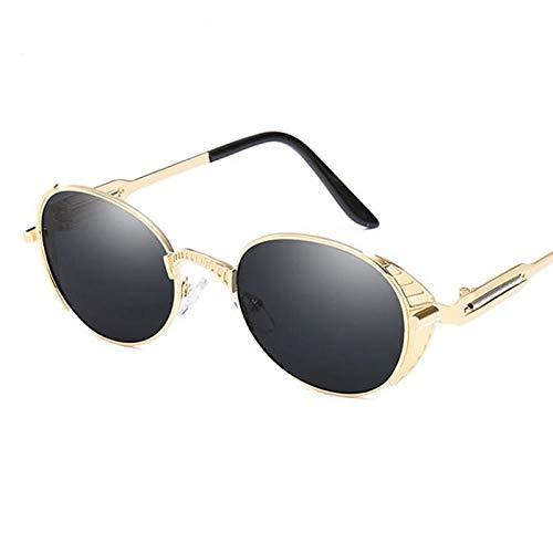 AAMOUSE Sonnenbrillen Kleine ovale Steampunk Sonnenbrille MännerGold Spiegel schwarz Vintage Sonnenbrille Frauen Shades männlich er kleine runde Brille